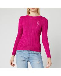 Polo Ralph Lauren Sequin Classic Cable Knitted Sweater - Pink