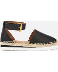 See By Chloé Glyn Leather Espadrille Flat Sandals - Black