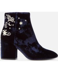 Ash Elixir Velvet Heeled Ankle Boots - Blue