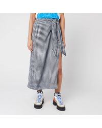Ganni Checked Printed Crepe Skirt - Blue