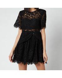Self-Portrait Fine Cord Sleeve Mini Dress - Black