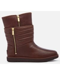UGG - Women's Aviva Classic Luxe Leather Short Boots - Lyst