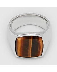 Tom Wood Cushion Tiger Eye Ring - Metallic
