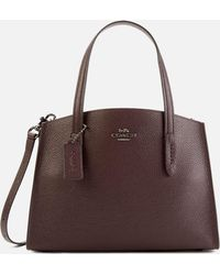 COACH Polished Pebble Leather Charlie 28 Carryall Bag - Brown