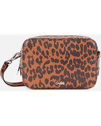 Ganni Leopard Print Leather Cross Body Bag - Brown