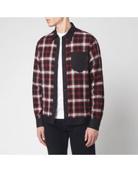 DSquared² Cotton And Check Bowling Shirt With Logo Print On Back - Black