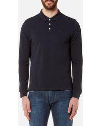 Emporio Armani Long Sleeve Polo Shirt - Blue