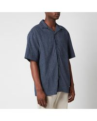 YMC Mitchum Sashiko Stitch Short Sleeve Shirt - Blue