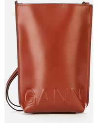 Ganni Recycled Leather Small Cross Body Bag - White