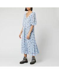 Ganni Floral Printed Georgette Midi Dress - Blue