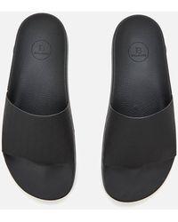 Balmain Calypso Embossed Flat Sandals - Black