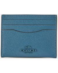 COACH Crossgrain Flat Card Case - Blue
