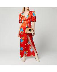 De La Vali Ohio Floral-print Satin Maxi Dress - Red