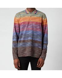 Missoni Stripe Jersey Long Sleeve Polo Shirt - Multicolour