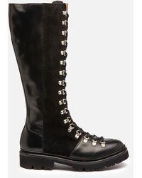 Grenson Nanette Hi Leather/suede Boots - Black
