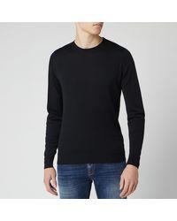 John Smedley Lundy 30 Gauge Extra Fine Merino Crew Neck Sweater - Black