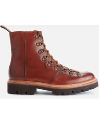 Grenson Brady Handpainted Leather Hiking Style Boots - Brown