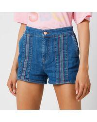 See By Chloé Signature Rainbow Denim Shorts - Blue