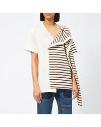 JW Anderson Striped Jersey T-shirt With Draped Scarf - Brown