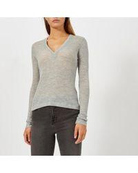 T By Alexander Wang - Women's Sheer Woolly Rib Deep Vneck Long Sleeve Top - Lyst
