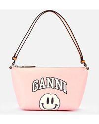 Ganni Smiley Print Bag - Pink