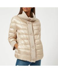 Herno Short 3/4 Sleeve Quilted Jacket With Knit Collar