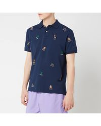 Polo Ralph Lauren Multi Bear Embroidered Polo Shirt - Blue