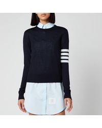 Thom Browne Relaxed Fit Crew Neck Pullover - Blue