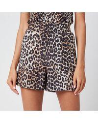 Ganni Leopard Print Silk Blend Shorts - Black
