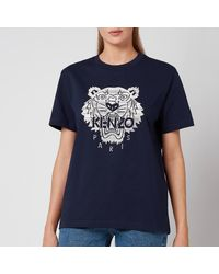KENZO Full Embroidered Loose T-shirt - Blue