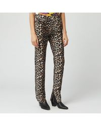 Ganni Leopard-print High-rise Slim-leg Jeans - Multicolor