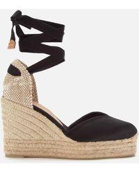 Castaner Chiara Platform Wedged Espadrille Sandals - Black