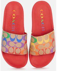 COACH Pride Rubber Pool Slide Sandals - White