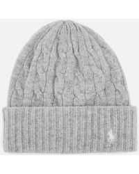 70e1c4bd7e6dcd Lyst - Polo Ralph Lauren Cable Wool Hat & Glove Set in Gray