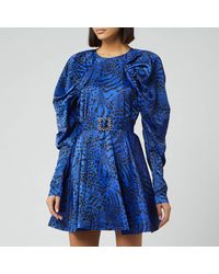 ROTATE BIRGER CHRISTENSEN Tara Taffetta Mini Dress - Blue