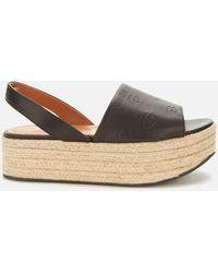 KENZO Platform Espadrille Sandals - Black