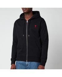 AMI De Coeur Zip Through Hoodie - Black