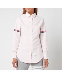 Thom Browne Classic Long Sleeve Round Collar Shirt With Gg Armband - Pink