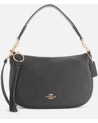 COACH Polished Pebble Leather Sutton Cross Body Bag - Black