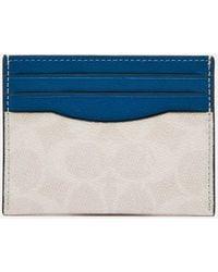 COACH Flat Colourblocked Card Case - Blue
