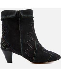 Isabel Marant - Women's Dyna Suede Fold Over Heeled Boots - Lyst
