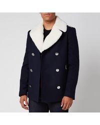 Balmain Shearling Collar Badge Pea Coat - Blue