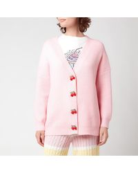 Olivia Rubin Frankie Ribbed Cardigan With Diamante Cherry Buttons - Pink