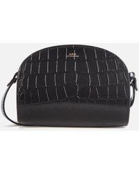 A.P.C. Mini Demi Lune Croc Bag - Black