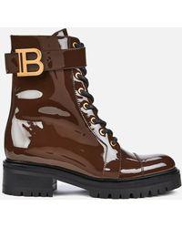 Balmain Ranger Boot Patent Leather - Brown