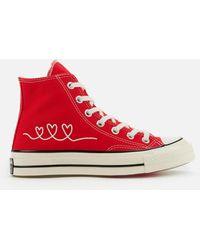 Converse Chuck 70 Love Thread Hi-top Trainers - Red