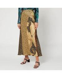 RIXO London Parker Leopard Print Silk Slip Skirt - Metallic