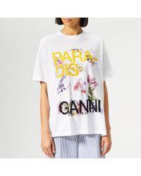Ganni Paradise Floral Print T-shirt - White