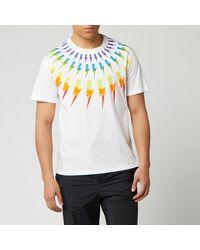 Neil Barrett Fair Isle Thunderbolt T Shirt - White