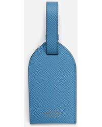 Smythson Panama Luggage Tag - Blue